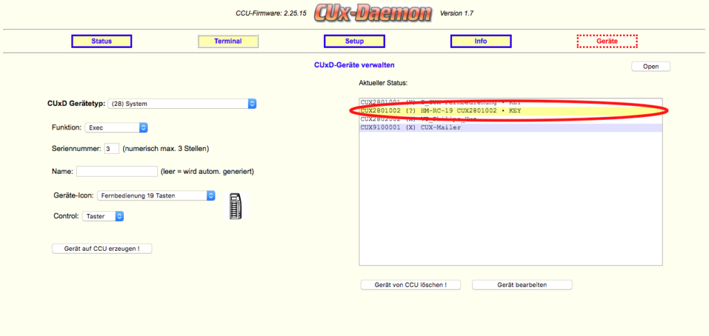 CUxD - Neues Gerät angelegt