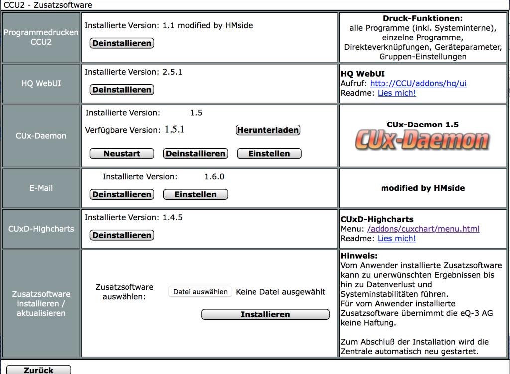 Installation von Zusatz-Software auf der CCU2