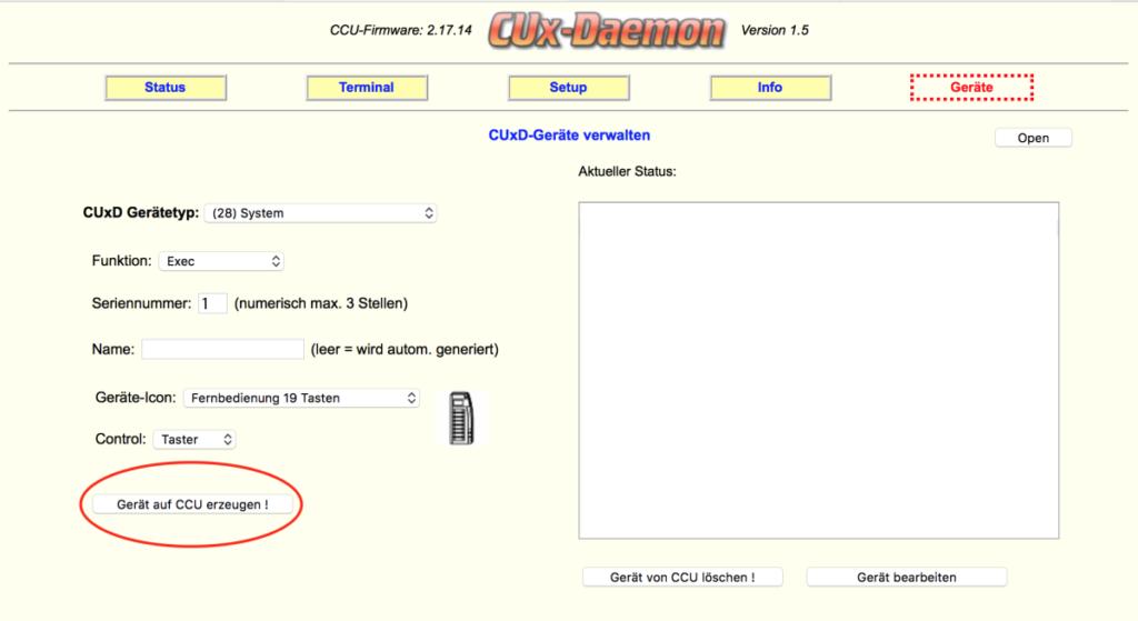 CUx-Daemon - Gerätetyp 28 einrichten