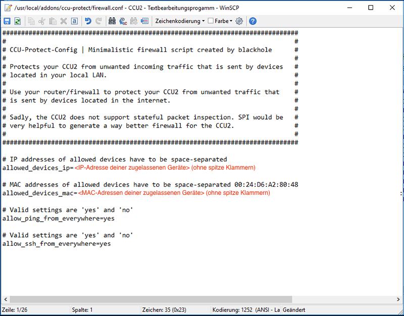 IP-/MAC-Adressen der zugelassenen Geräte eintragen