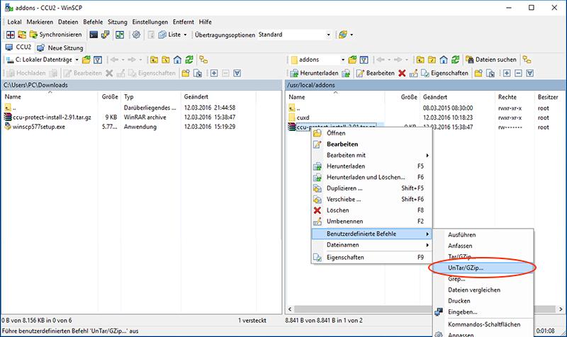 CCU2 absichen -Zip-File mit WinSCP auf CCU2 übertragen