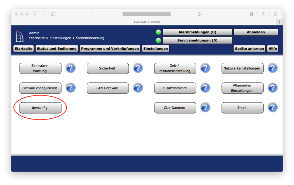 Verstecktes Tool auf CCU2: devconfig