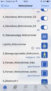 pocket control HM - Anzeige der Lightify RGBW-Lampe