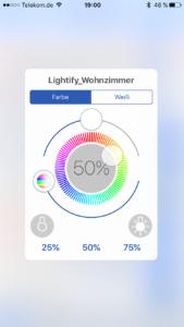 pocket control HM - Steuerung der RGBW-Lampe