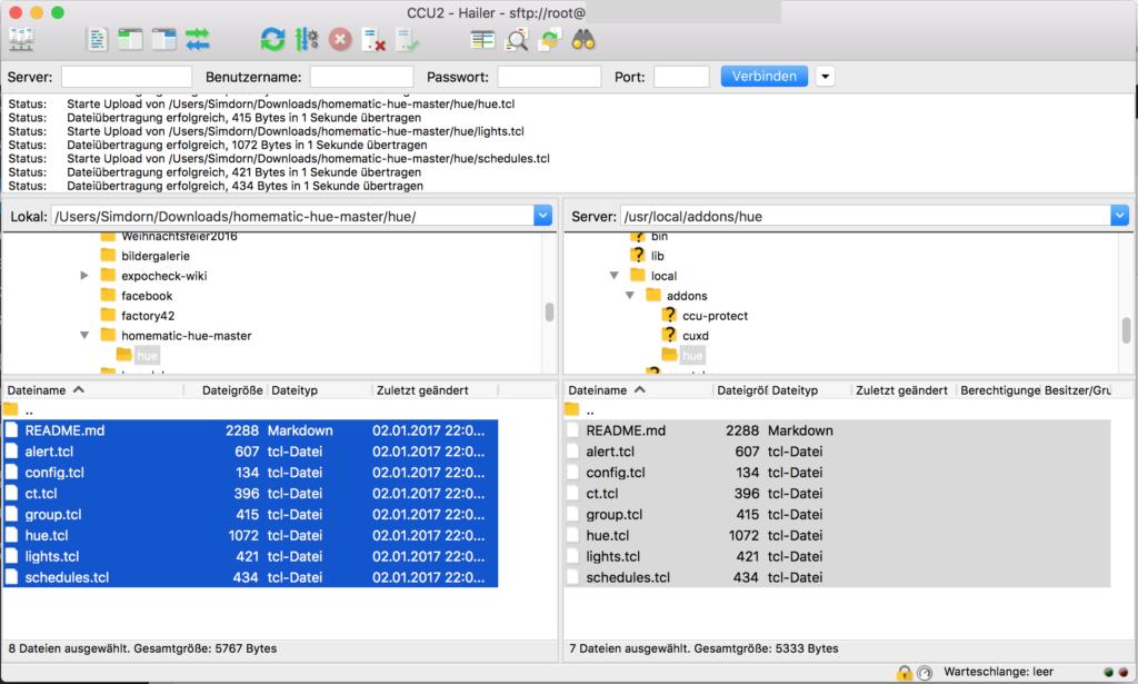 Erfolgreiche Dateiübertragung auf CCU2