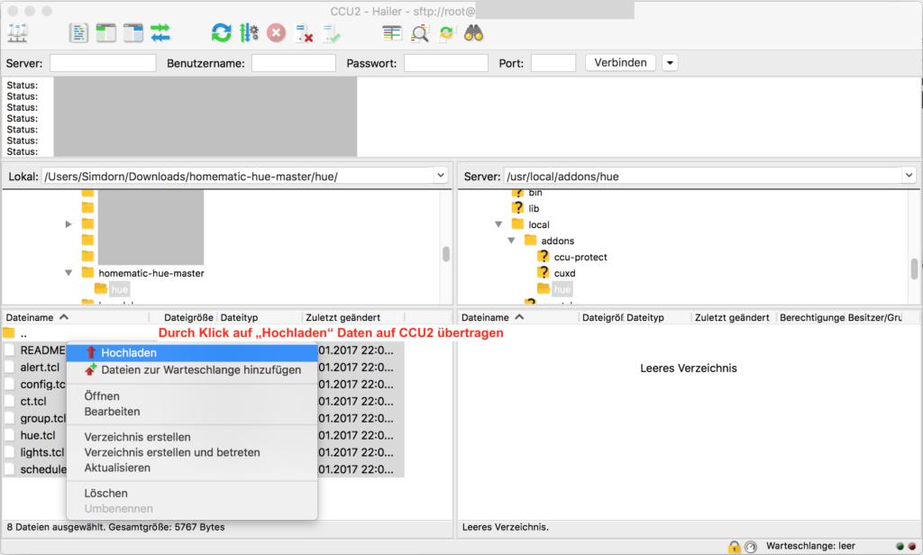Dateien auf CCU2 übertragen