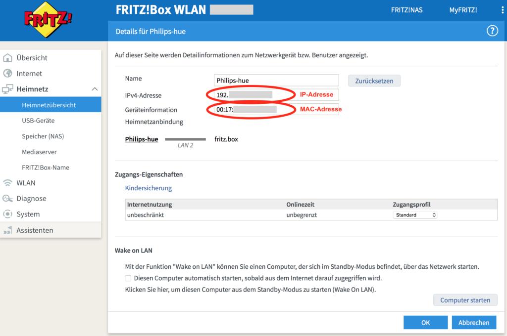 Fritz!Box - IP-Adresse der Hue Bridge ermitteln