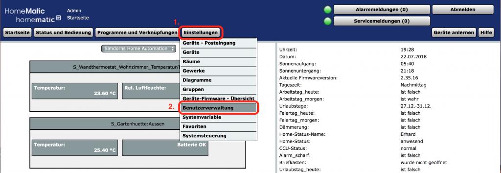 Einstellungen/Benutzerverwaltung