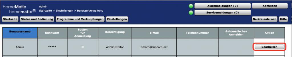 Expertenmodus für Benutzer Admin freischalten