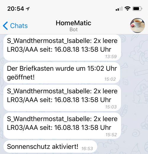 Batterie leer - Meldung per Telegram