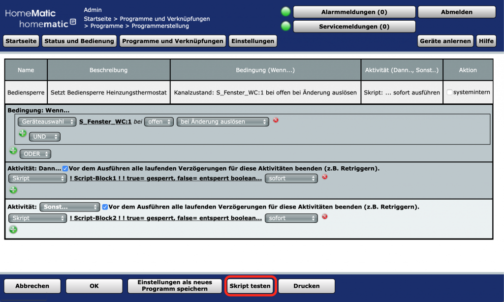 Heizkörperthermostat - Bediensperre per Script setzen: Programm im Fehlerfall testen