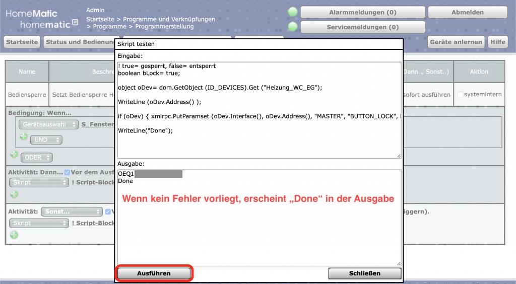 Heizkörperthermostat - Bediensperre per Script setzen: Programm testen - Ausgabe