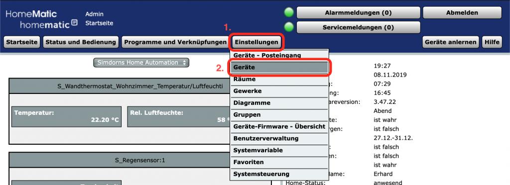 Heizkörperthermostat - Bediensperre: Einstellungen / Geräte